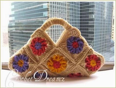 Granny square crochet flower shoulder bag handmade gift for her