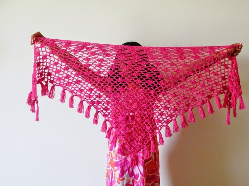 Tyra Triangle Shawl Free Crochet Pattern Lacy Scarf Pattern