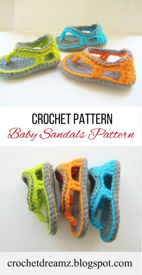 Trekkers Crochet Pattern Flip Flop Sandals For Baby Boys 0 12