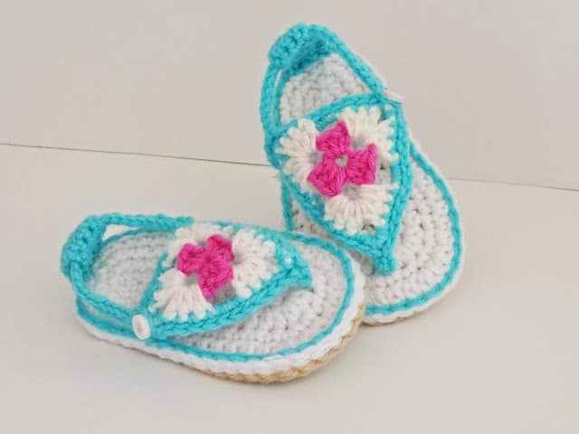 Crochet baby Sandals in Blue