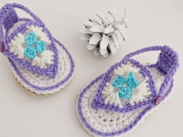 Crochet Baby Sandals in Purple