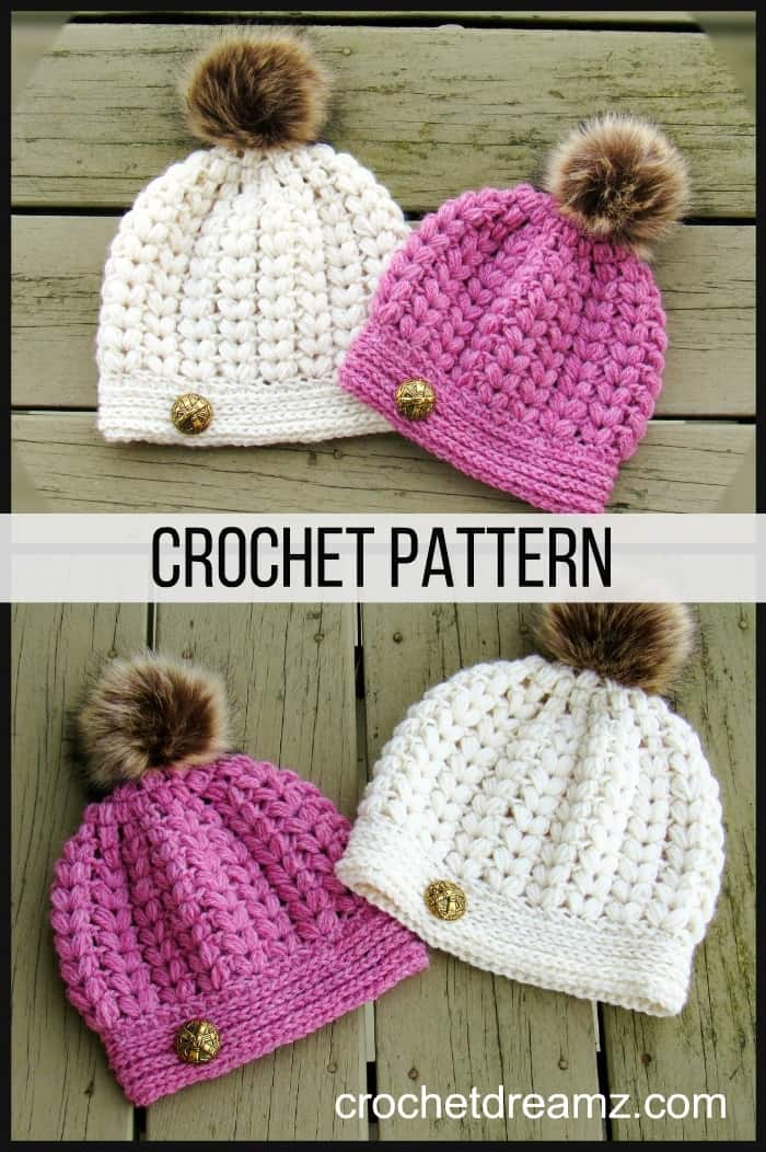 Crochet Hat Pattern for a textured puff stitch hat. Visit my blog today.