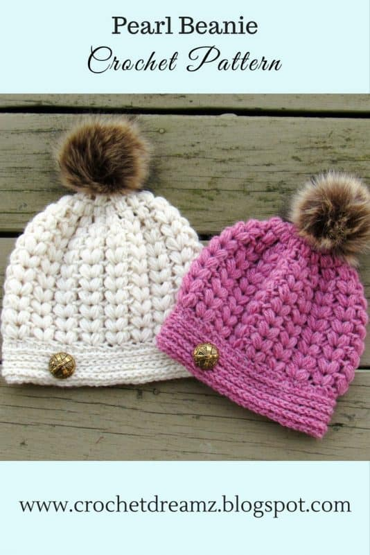 Pearl Beanie Puff Stitch Crochet Hat Pattern Crochet Dreamz