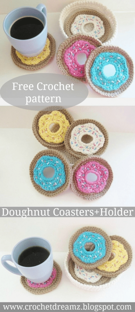 Crochet Doughnut Coasters And Holder Set Free Crochet Pattern