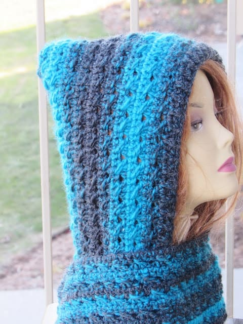 Hooded Scarf Crochet Snood Celtic Hooded Scarf Women or Teen Red