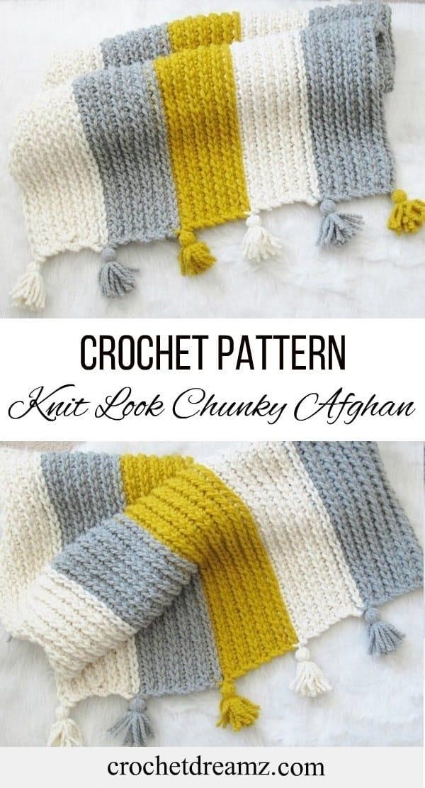free knitlook chunky afghan crochet pattern crochet dreamz