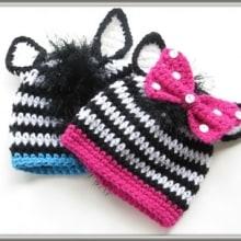 Zebra Beanie for Boys or Girls- Newborn to Woman- $5.50
