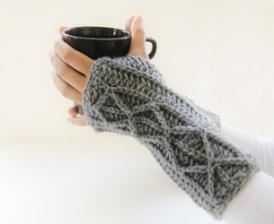 Adeline Fingerless Mitts with Faux Cables