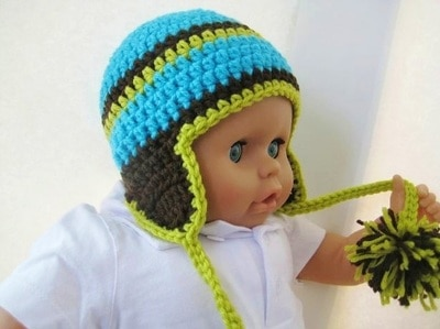Madison Ear Flap Hat- Unisex- Newborn to Adult Sizes - $5