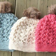 Floral Puff Stitch Beanie -4 Sizes- $5.50