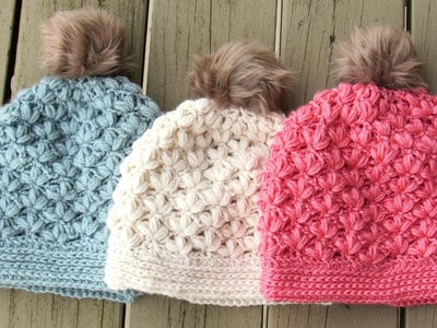 Floral Puff Stitch Beanie -4 Sizes- $5.50