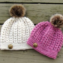 Pearl Puff Stitch Beanie- 0-3 Months to Woman Sizes - $5.50