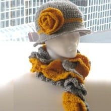 Ruffled Cowl and Brimmed Hat- Woman's Size- $5