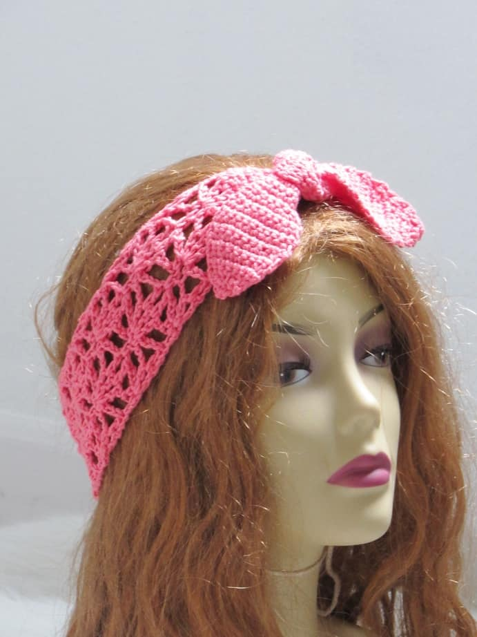 Make a Boho style crochet headband. Follow the free pattern and make them in colors to match your wardrobe.