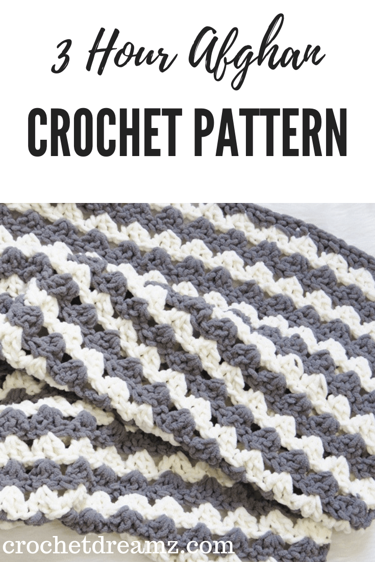 A free blanket crochet pattern that can be made in less than 3 hours. Made with Bernat Blanket Yarn.