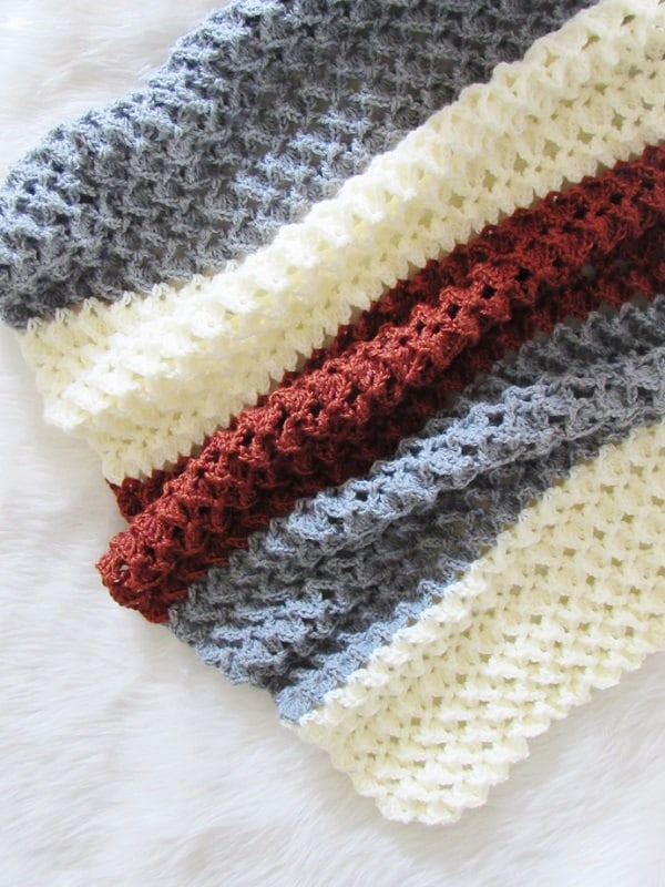 A free crochet afghan pattern that has a beautiful texture. You will love the ease and look of this stitch. Make one to match your decor today.