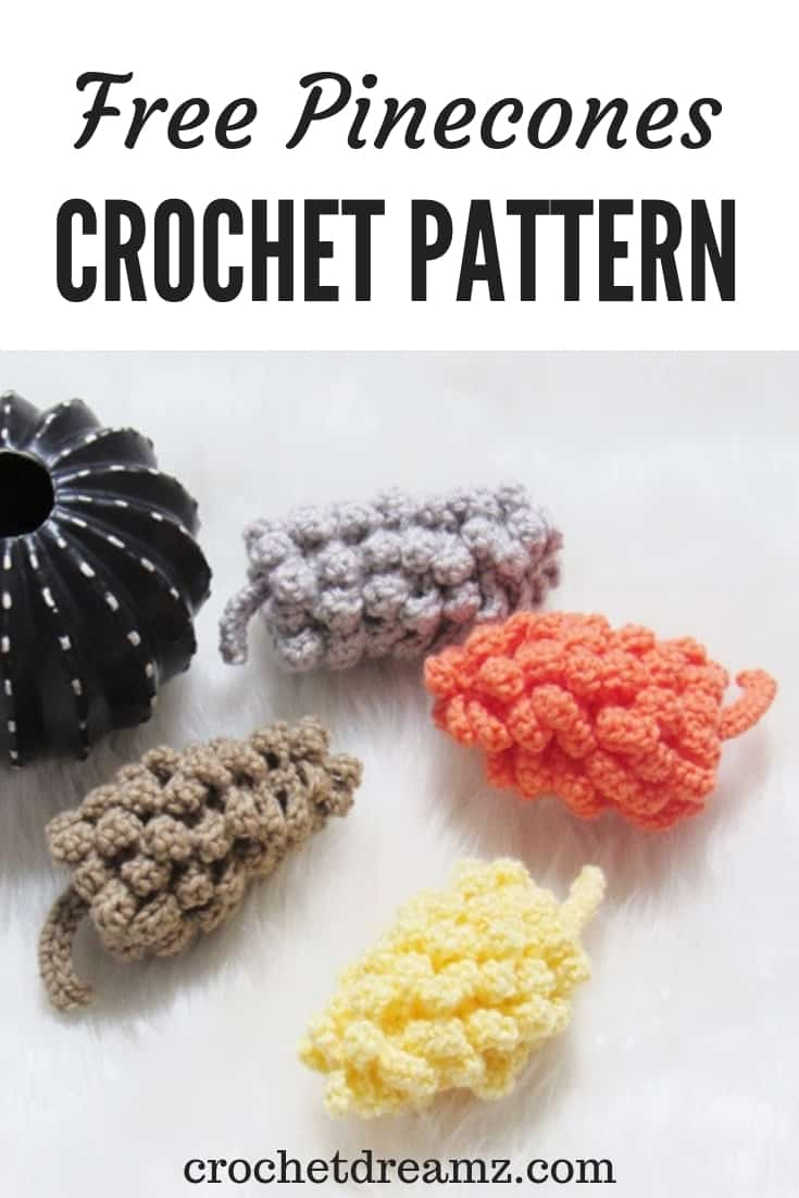 A crochet decor pattern that is sure to put a smile on your face-Amigurumi Pinecones. These take only 50 yards of yarn and will be perfect to use up your leftover skeins of yarn. Make some today.