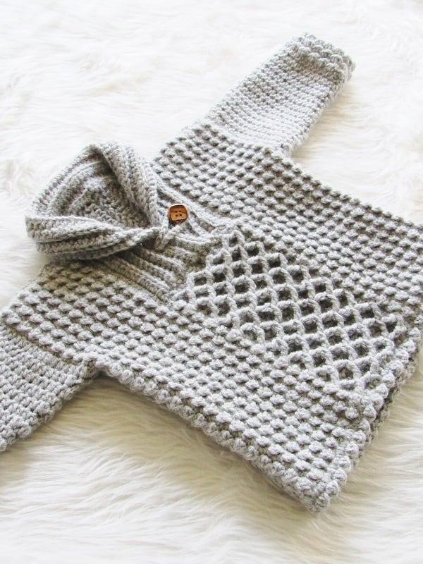 097e2e685080c4 Textured Crochet Baby Boy Sweater - Crochet Dreamz