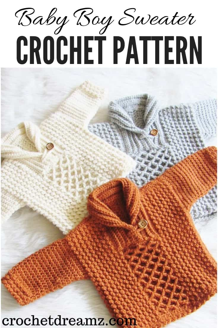 Make this lovely baby boy sweater crochet pattern for your little guy. It comes in 7 sizes, 0-3 months to 3/4T.