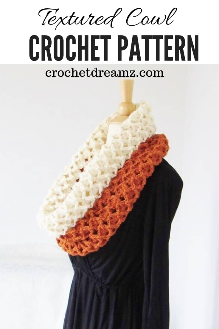 A crochet cowl pattern with a beautiful texture.