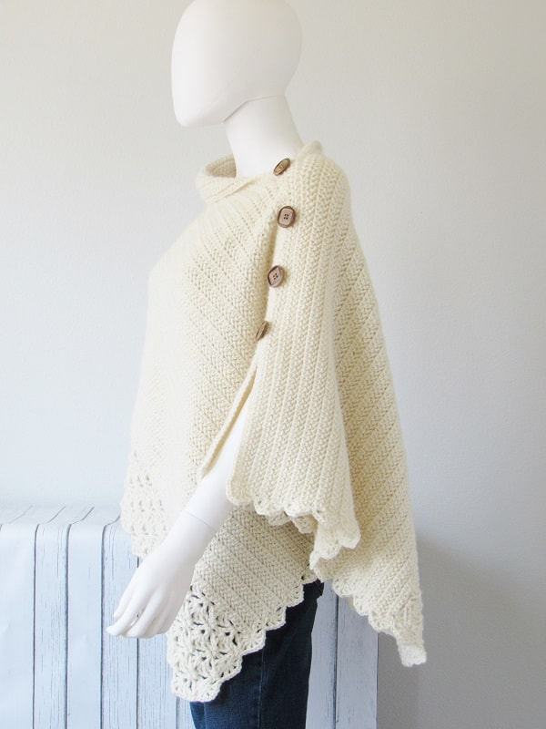 Slit on the side of the crochet poncho