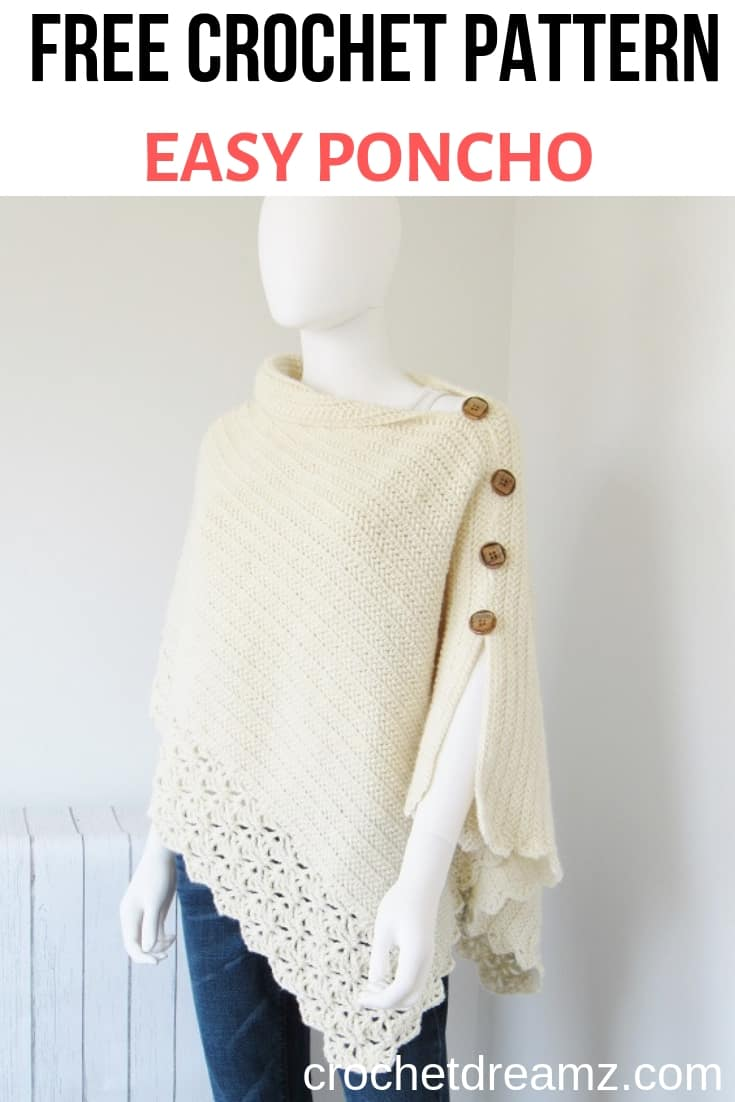 Free crochet poncho pattern worked from a simple rectangle.