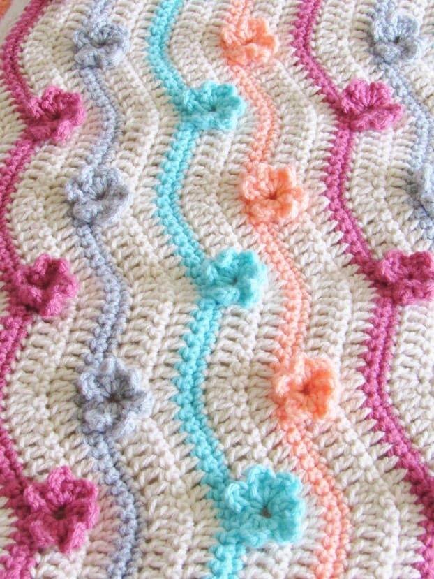 Crochet Afghan Free Pattern with 3D Flowers - Crochet Dreamz