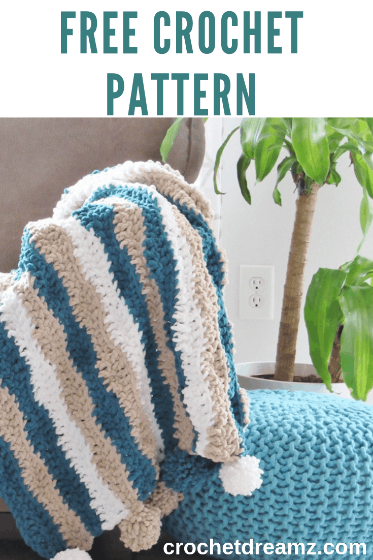 A quick and easy crochet blanket pattern for beginners. #crochetblanket, #crochetafghan, #crochetthrow