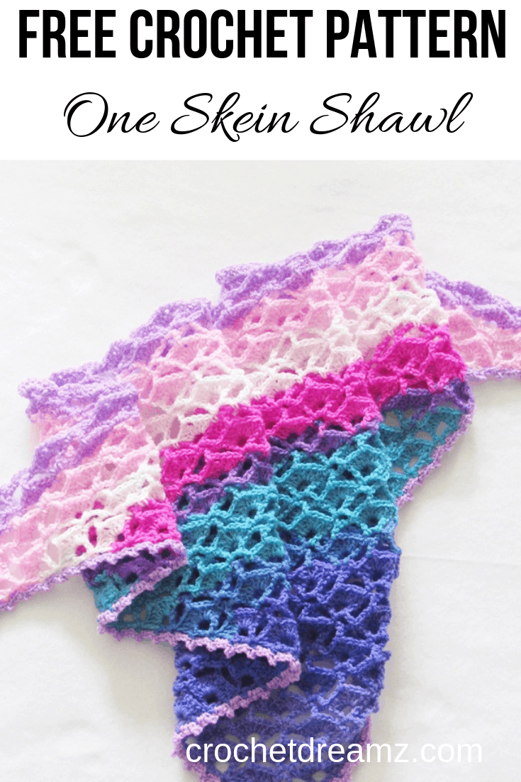 The perfect one skein crochet shawl pattern for spring. #crochetshawl. #crochetshawlpattern, #crochetscarf, #crochetwrap