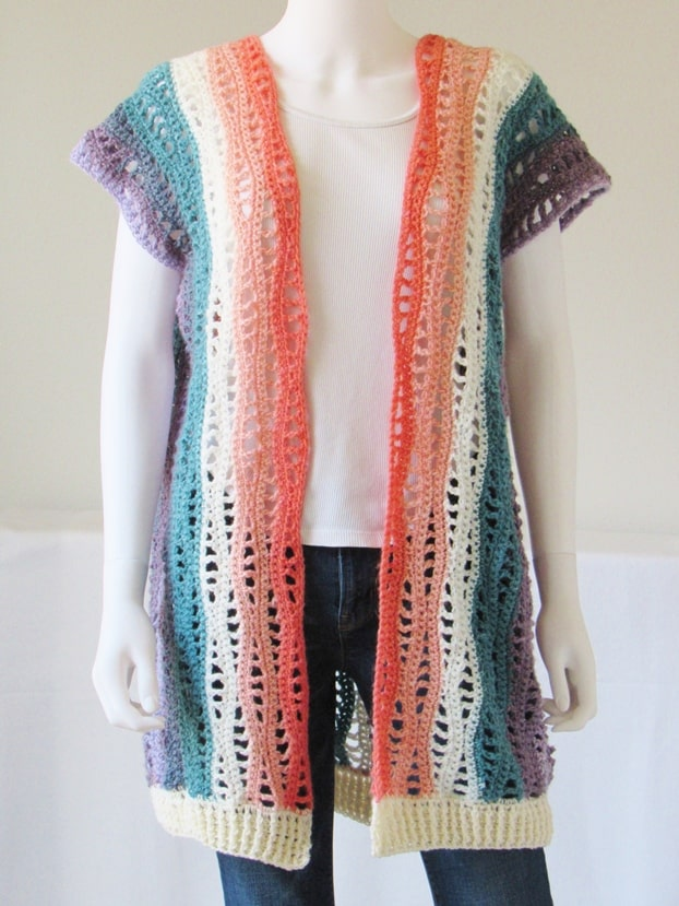 A gorgeous crochet kimono pattern designed with Lionbrand Mandala yarn will be your new wardrobe staple. You will love how airy and light this garment is. Make one for you this spring.