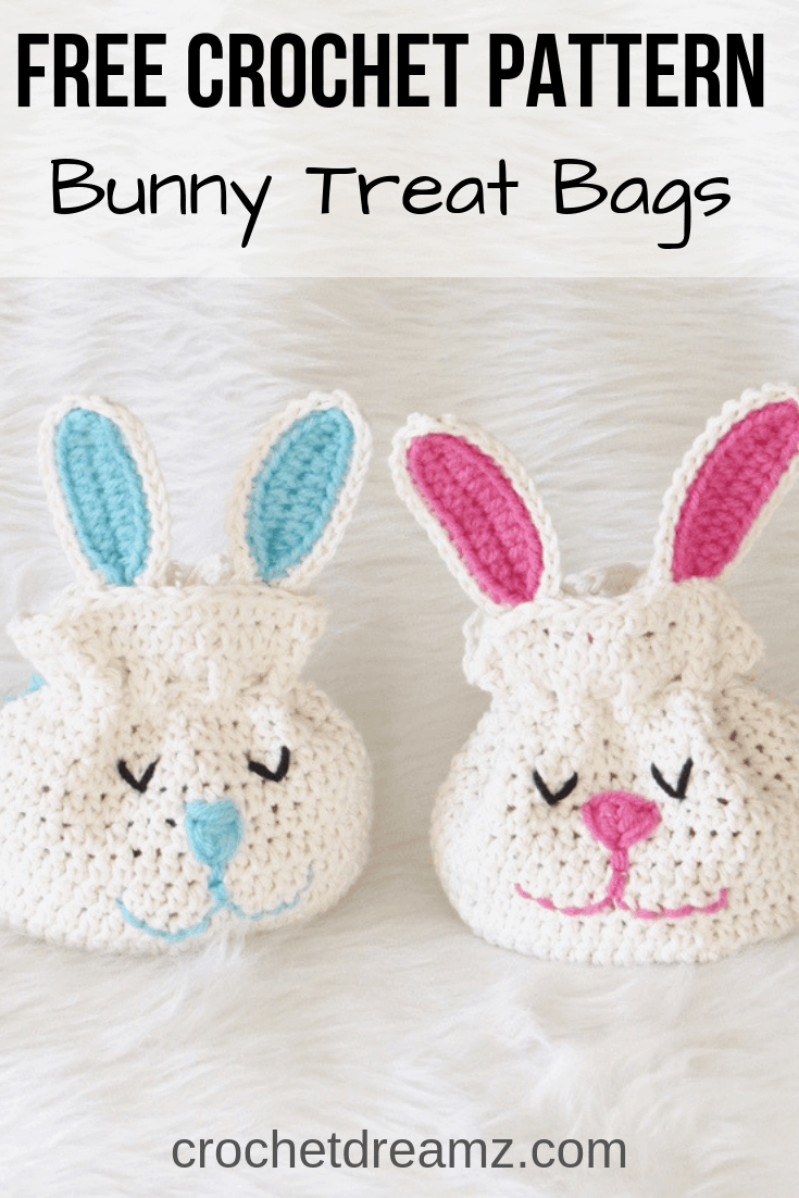 Try this free crochet bunny drawstring bag. It is an easy pattern that looks cute from the front as well as the back and is a great alternative to a regular baskets. #crochetbunny, #crochetbunnypattern, #easycrochetbunny, #freecrochetbunny