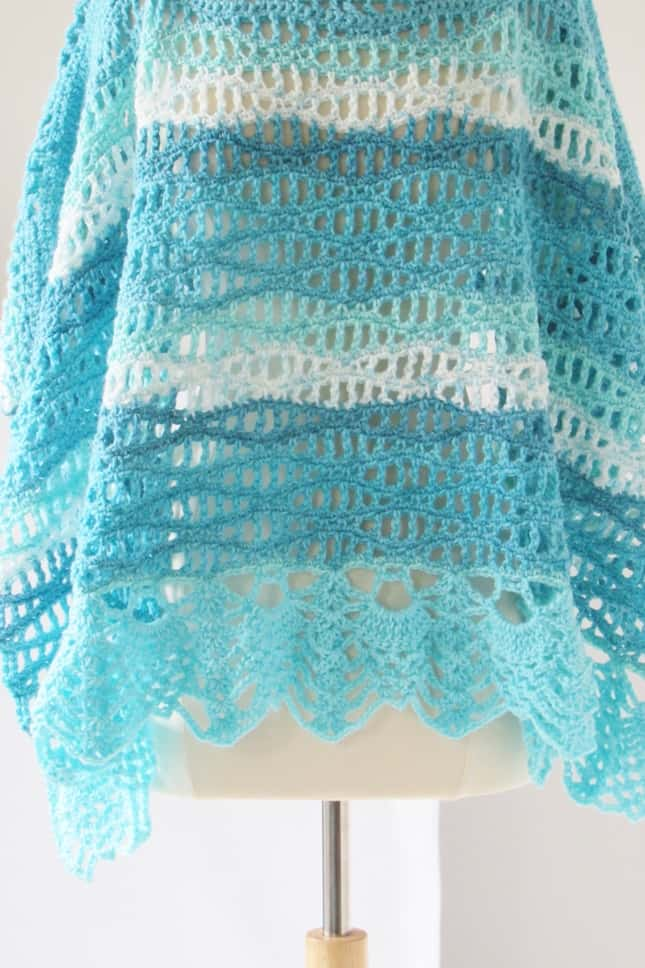 Crochet Poncho with Wave Stitch