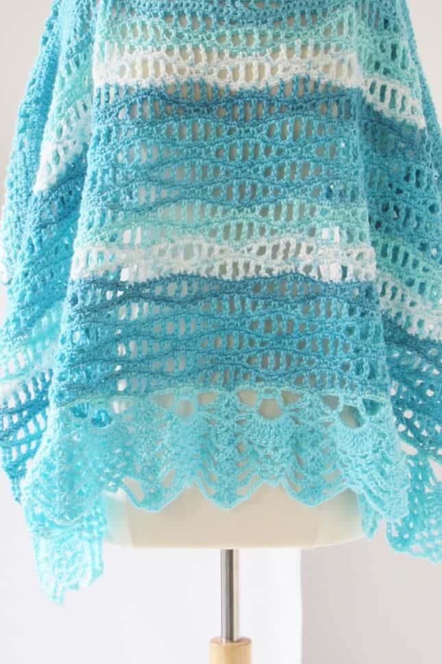 Crochet Poncho with Wave Stitch