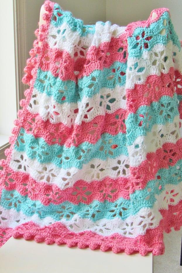 Crochet Blanket Pattern with Pom Pom Border