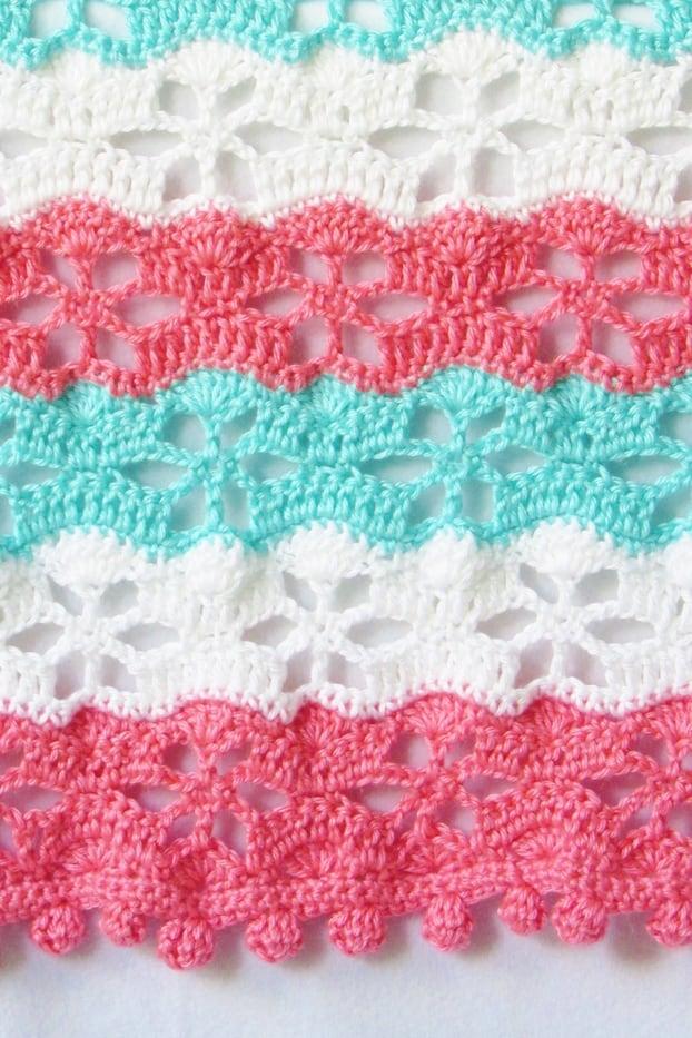 Crochet Floral Blanket Stitch