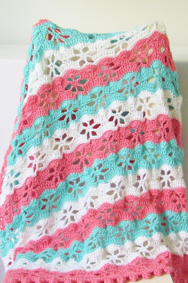 Lacy Crochet Blanket on A Chair