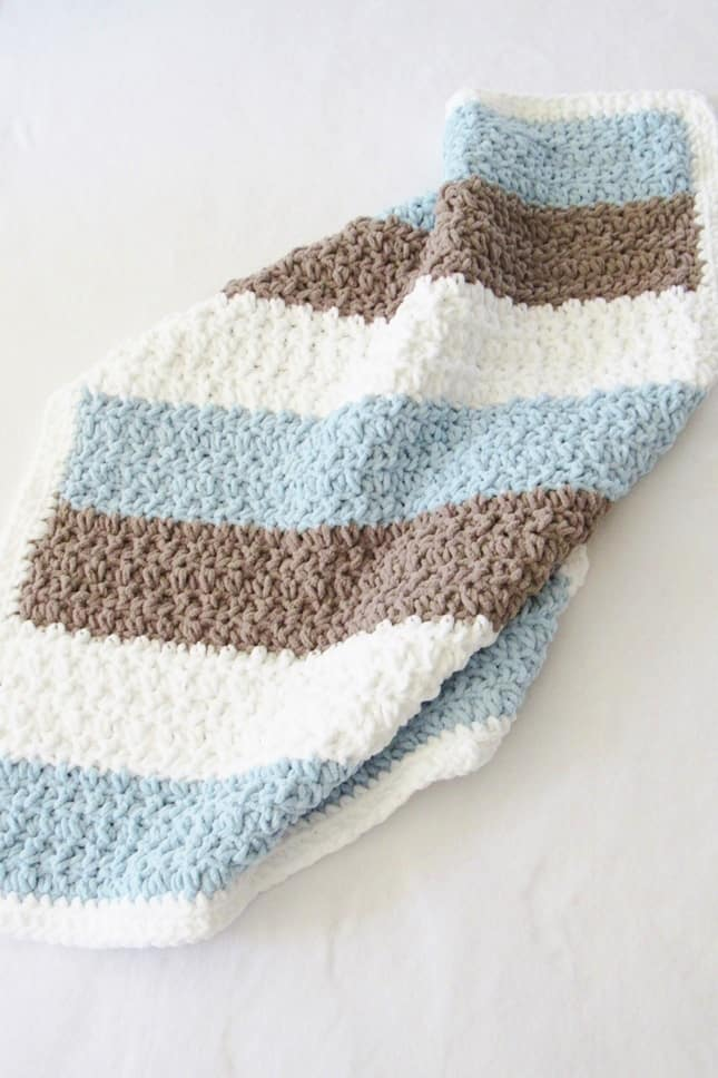 Crochet Textured Baby Boy Blanket