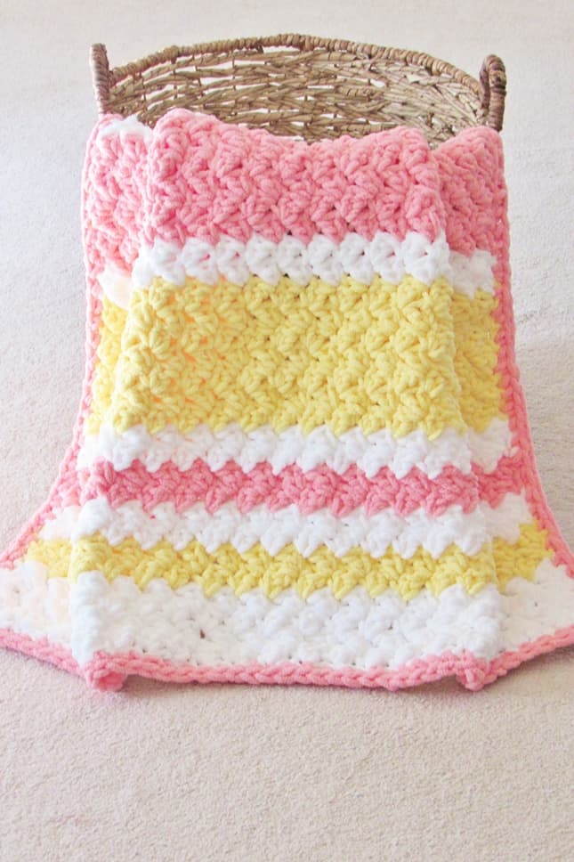 Striped Crochet Baby Blanket Pattern