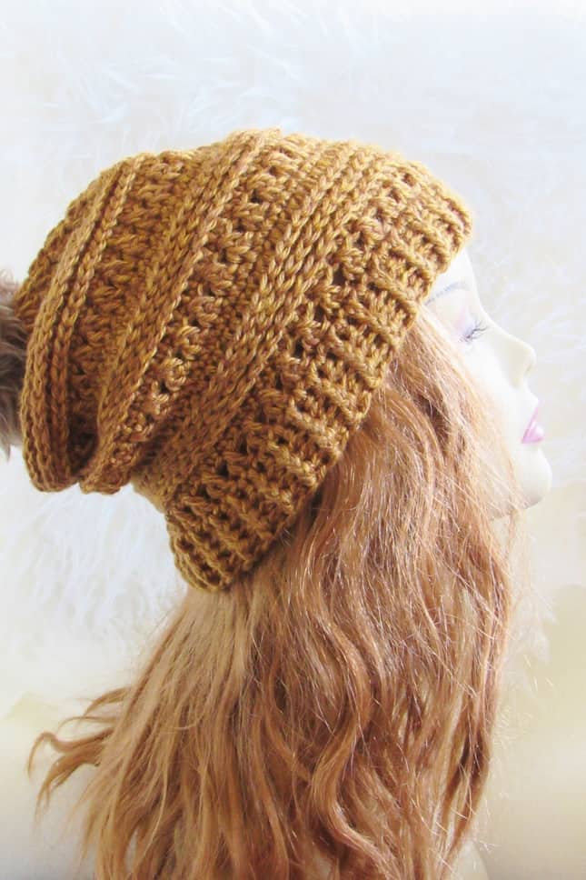 Slouchy Crochet Hat on a Mannequin