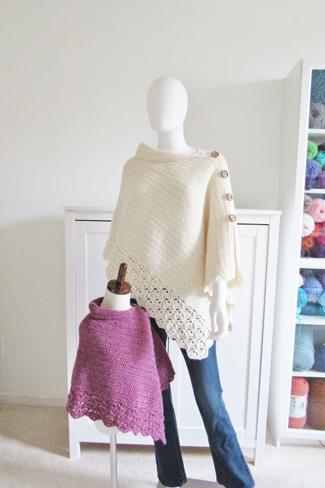 Kids and Woman's Crochet Poncho