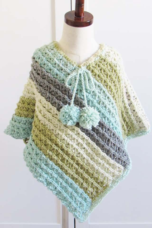 Free Child Crochet Poncho Pattern in Blue Colorway