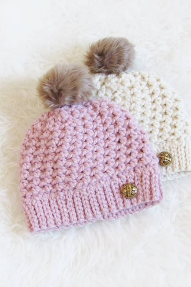 Crochet Beanie in Pink and Cream Color