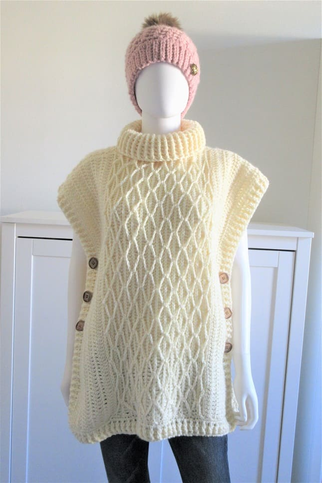 Crochet a poncho with beginner friendly cables