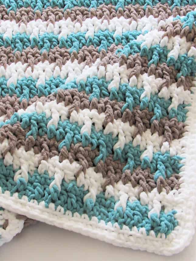 Easy Crochet Striped Blanket Pattern