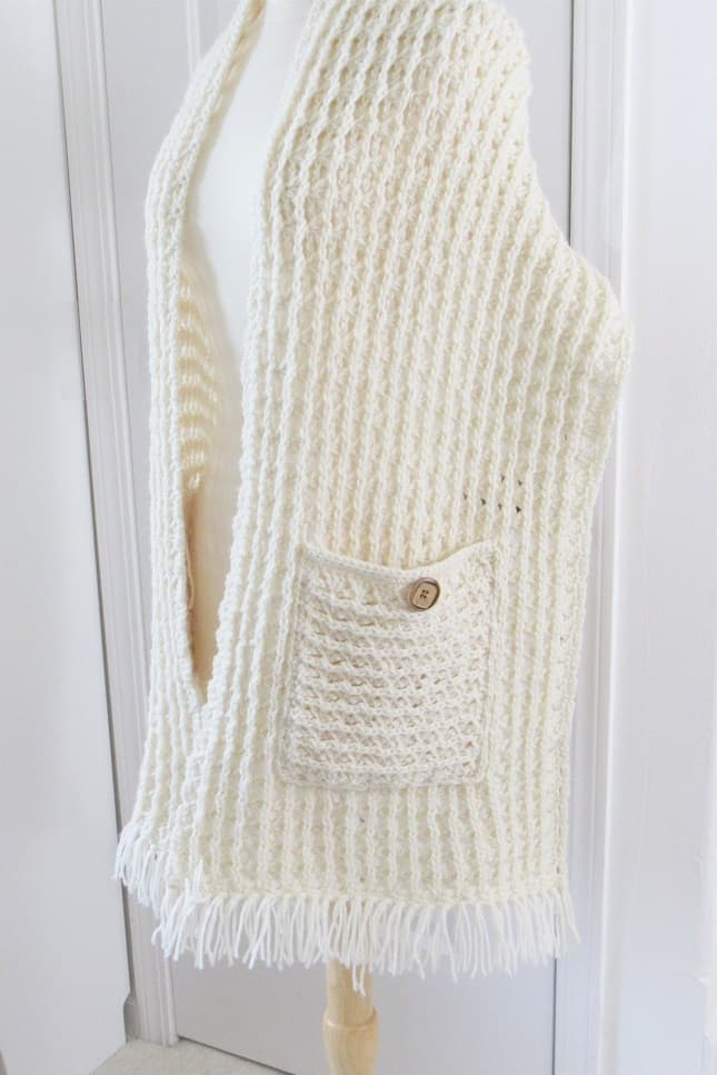 Easy Crochet Scarf with Pockets Free