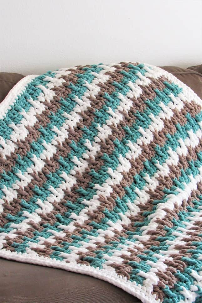 Striped Crochet Throw Blanket