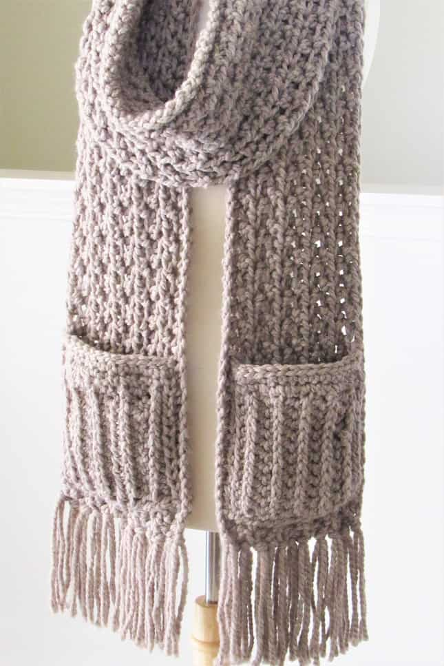 Chunky Crochet Pocket Scarf