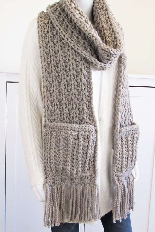 Crochet Chunky Scarf with Pockets