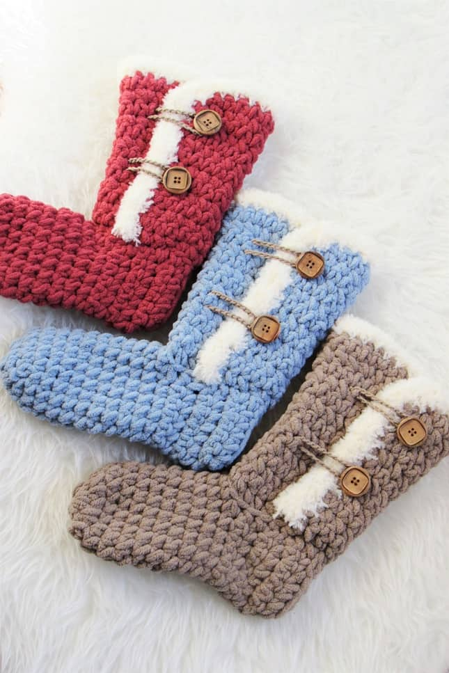 Easy Crochet Slipper Boots