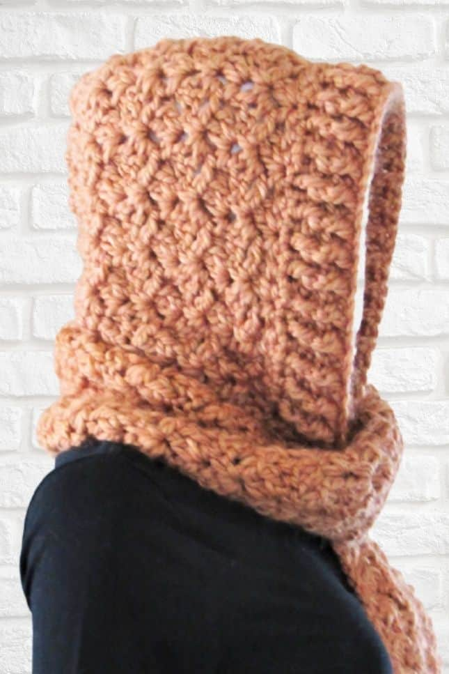 Crochet Hooded Scarf with Pocket